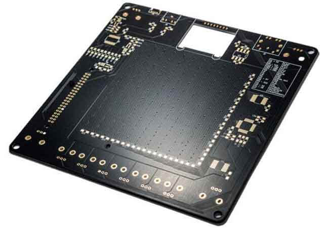 The black solder mask present on the black printed circuit board