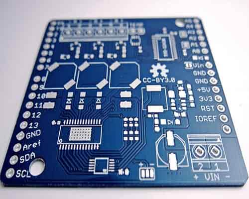 Silkscreen Of A Blue PCB