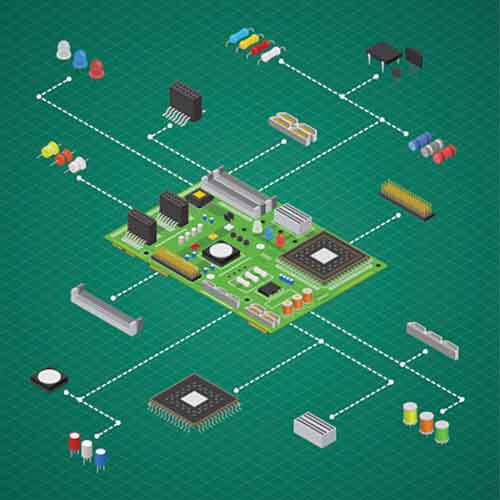 Different components of a refrigerator PCB