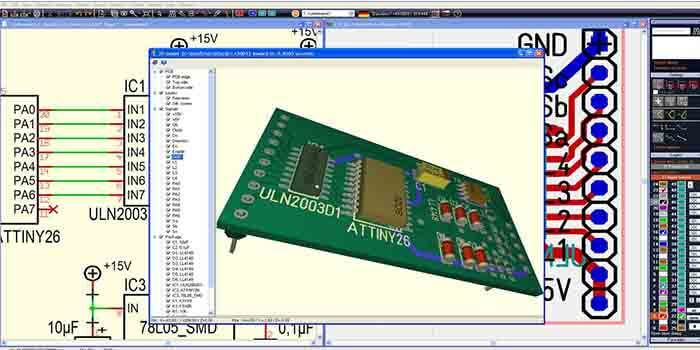 Software program used to design a PCB